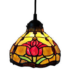 Light Style Am Amora Lighting 1 Light Tiffany Style Tulips Hanging Pendant With Glass Shade