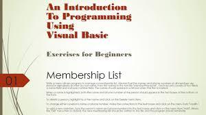 Introduction To Programming Using Visual Basic Membership List