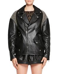 saint lauzip front oversized moto leather jacket with shoulder studs