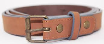 chocolate bonded leather belt for women