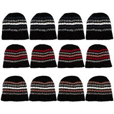 Winter Hat Designs 12 Pack Of Excell Mens Heavy Ribbed Beanie Winter Hat Striped Designs