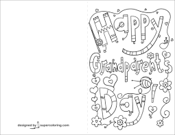 Happy Grandparents Day Doodle Card Coloring Page Free Printable
