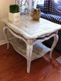country distressed furniture. Eye Catching White Distressed Country Style End Table Ideas With Owl Decor Plus Navy Blue Plaid Patterned Sofa Furniture H
