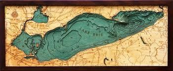 Vineyard Lake Depth Chart Lake Erie Depth Map Lake Erie 3d Nautical Wood Map Lake