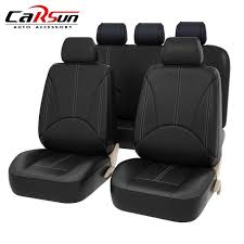 new universal pu black leather split bench auto seat cover full set airbags compatible and split bench cover high quality automobiles seat covers