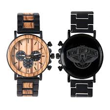 nba new orleans pelicans metal and wood watches mens titanium chronograph watch