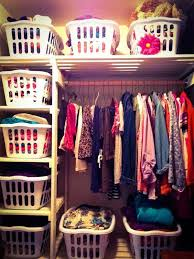 make use of some laundry baskets to organize your closet