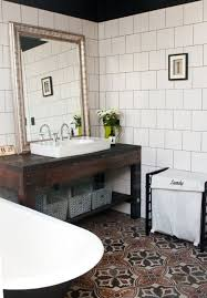 bathroom floor tile - patterned antique Spanish bathroom floor tile in an  Australian bath by Etica