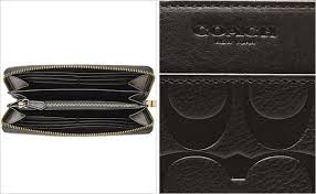 COACH   coach signature embossed leather accordion zip around long wallet  black F74999BLK