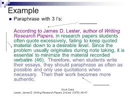 paraphrasing in the body of your text to incorporate material from example paraphrase 3 i s according to james d