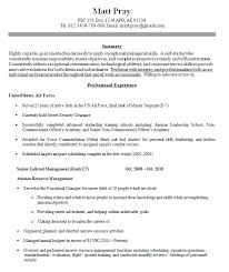 Resume Examples For Military 71 Images Military Resume