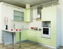 Kitchen:Contemporary Kitchen With Green Decoration And Modular Kitchen  Island Also Checkered Floor Contemporary Kitchen