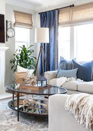 Nautical Living Room Design Family Room With Navy Blue Sectional With Blue And White Pillows