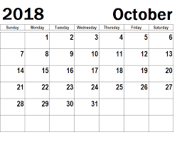 October Calendar Planner Pictures Printable 2018 Printable Calendar