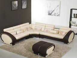 modern sectional sofas. Beige Leather Modern Sectional Sofa W/Dark Brown Sides Sofas E