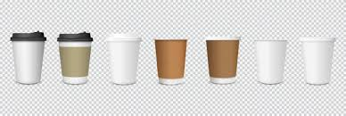 Set of paper <b>coffee</b> cups on <b>transparent</b> background Vector ...