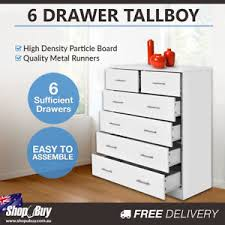 Image Is Loading Dresser6DrawerOrganiserTallBoyStorageCabinet Easy To Assemble Dresser30