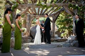 wedding ceremony at forest chapel in mammoth lakes ca