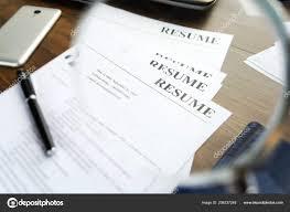 Resume Curriculum Vitae Pen Written Wooden Table Stock