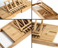 trays natural bamboo bathtub caddy tray organizer book tablet