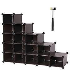 modular cube storage. Unique Modular SONGMICS Shoe Rack16Cube Modular Cube StorageDIY Plastic Storage  Organizer Units Throughout Amazoncom