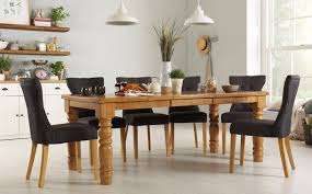hampshire oak extending dining table with 6 bewley slate chairs only 799 99