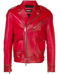 dsquared² red colour block biker jacket for men lyst