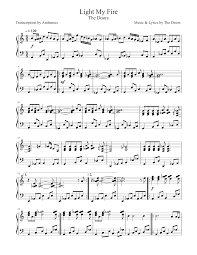 Light My Fire Piano Music Light My Fire The Doors Sheet Music For Piano Download