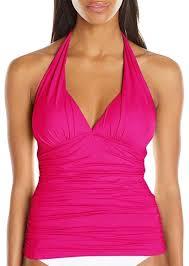 La Blanca Pink Ruching Halter Top Tankini Size 8 M 70 Off Retail