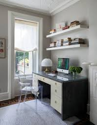 industrial home furniture. Cheap Floating Wall Shelves Above Desk For Industrial Home Office And Transparent Acrylic Chair With Apple Computer Screen Gold Table Lamp Gray Furniture N