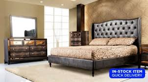 Faux Alligator Upholstered, Button Tufted Bed, Dresser U0026 Mirror Set With  Mirrored Accents