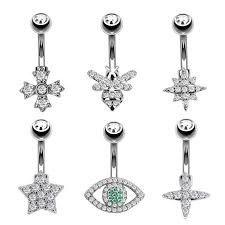 <b>New 1PC Fashion</b> Steel Belly Button Rings Zircon Style Piercing ...