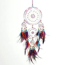 feather wall hanging handmade fashion design 4 circle dream catcher with feather wall hanging decor room