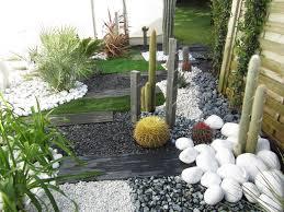 Jardin Sec Cactus Galets Polis Blancs Gazon Synth Tique