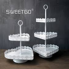 Sweetgo Heart Shape 2 Tiers Cupcake Stand Dessert Plate Sweet Table