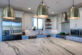 Bickett White transitional kitchen with dark perimeter countertops