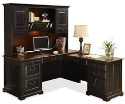 furniture black wooden computer table with book shelf and several drawer added table lamp with black shaped office desks