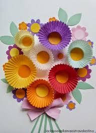 Paper Flower Crafts For Kindergarten Spring Flower Bouquet Kids Craft With Cupcake Papers Craft