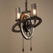 double pendant lighting. Old Iron Double Light Gear Shaped Indoor Commercial LED Pendant Lighting