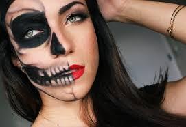 half skull half glamour last minute makeup tutorial