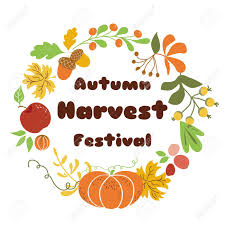 Autumn Harvest Festival Poster Design Fall Wreath On White Background
