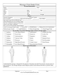 Medical Forms Templates Printable Massage Client Intake Form
