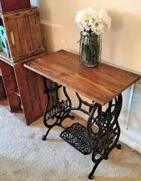 reclaimed sewing machine and lumber