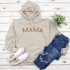 Ac Designs Clothing Mama Leopard Print Sand Hoodie