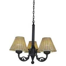 black versailles outdoor chandelier with stone wicker shade