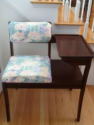 Vintage Mid Century Telephone Table  Seat  Mustard VintageTelephone Bench Seat