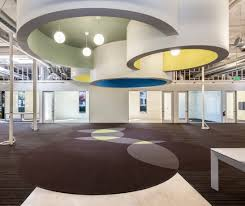 awesome open office lighting design with pendant lighting and false ceiling decoration over brown carpet with round pattern
