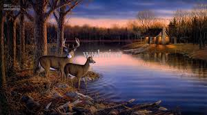 2018 hot ing hd print oil painting on canvas sam timm tranquil evening painting art animals deer night sunset autumn nature forest 10x18 from wuhaisu