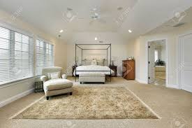 Tray Ceiling Master Bedroom In Luxury Home With Tray Ceiling Stock Photo