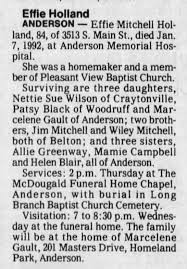 Holland (Mitchell), Effie obituary - Newspapers.com